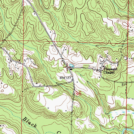 Topographic Map of Flatwood, AL