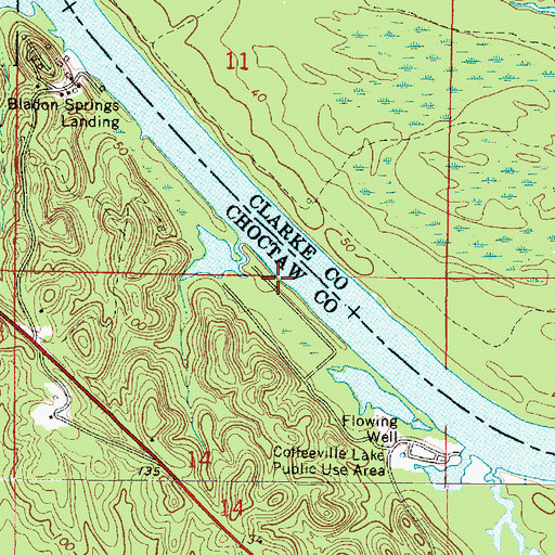 Topographic Map of Hills Landing (historical), AL