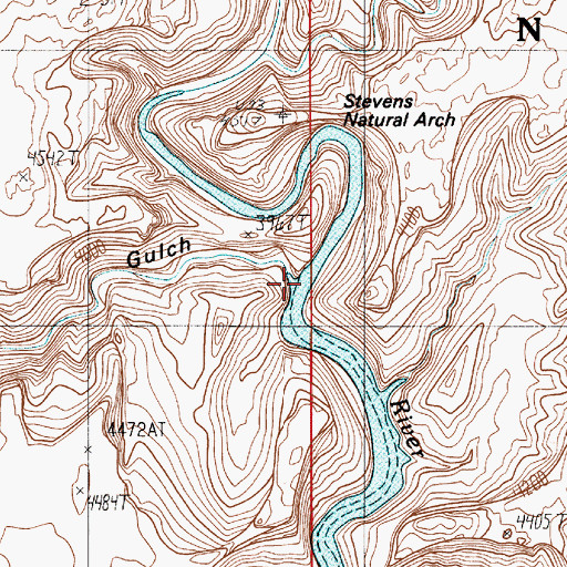 Topographic Map of Coyote Gulch, UT