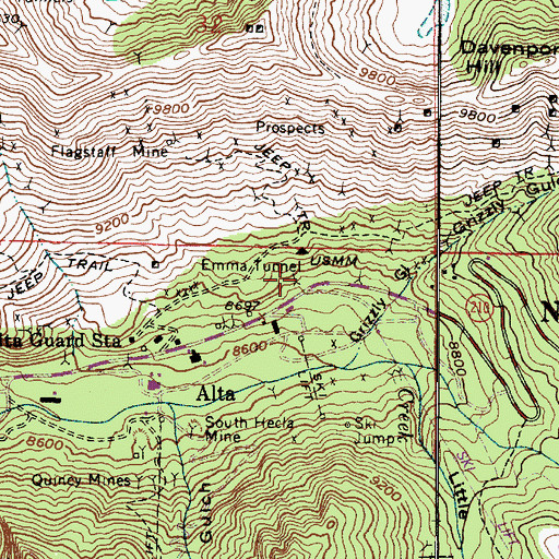 Topographic Map of Emma Tunnel, UT