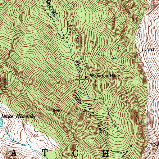 Topographic Map of Wasatch Mine, UT