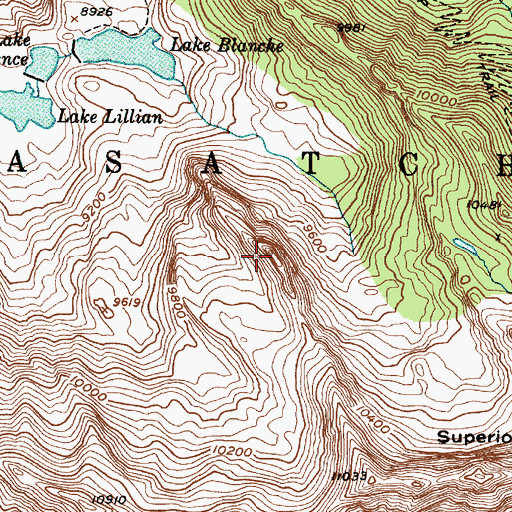Topographic Map of Sundial Peak, UT