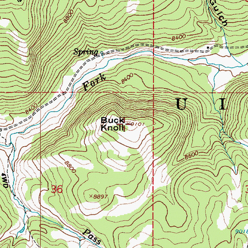 Topographic Map of Buck Knoll, UT