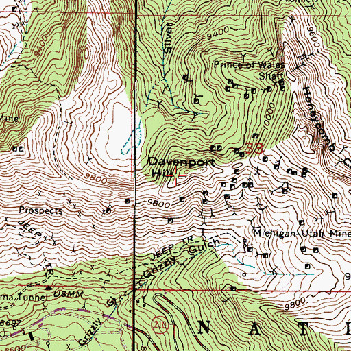 Topographic Map of Davenport Hill, UT