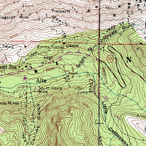 Topographic Map of Grizzly Gulch, UT