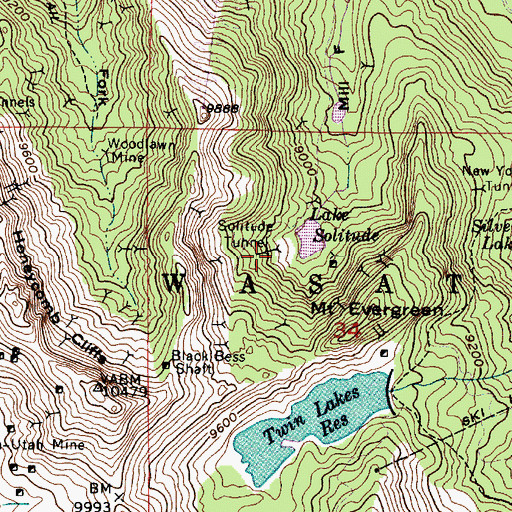 Topographic Map of Solitude Tunnel, UT