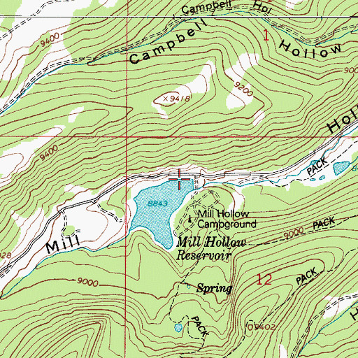 Topographic Map of Mill Hollow Dam, UT