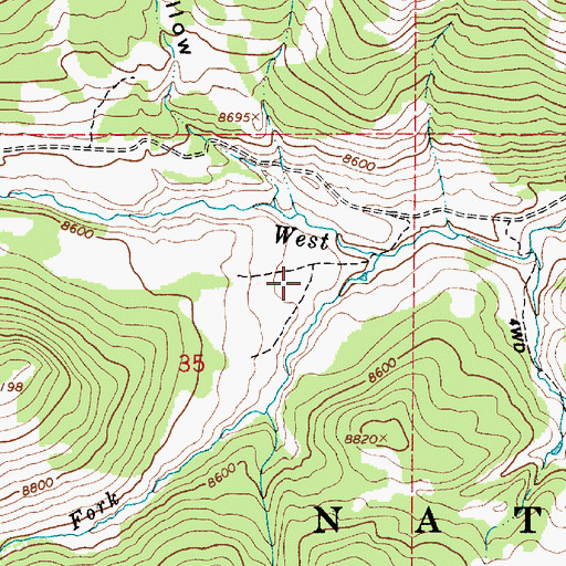 Topographic Map of Beef Pasture, UT