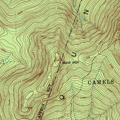 Topographic Map of Bald Hill, VT