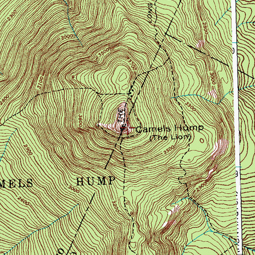 Topographic Map of Camels Hump, VT