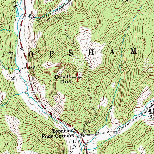 Topographic Map of Devils Den, VT