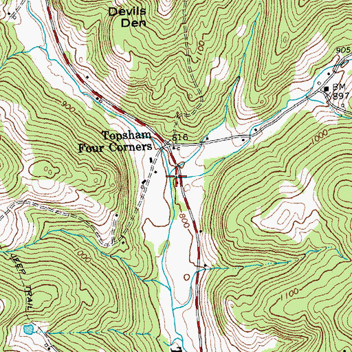 Topographic Map of Levi Brook, VT