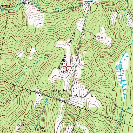 Topographic Map of Page Hill, VT