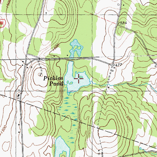 Topographic Map of Pickles Pond, VT