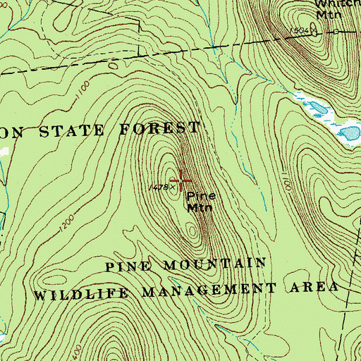 Topographic Map of Pine Mountains, VT