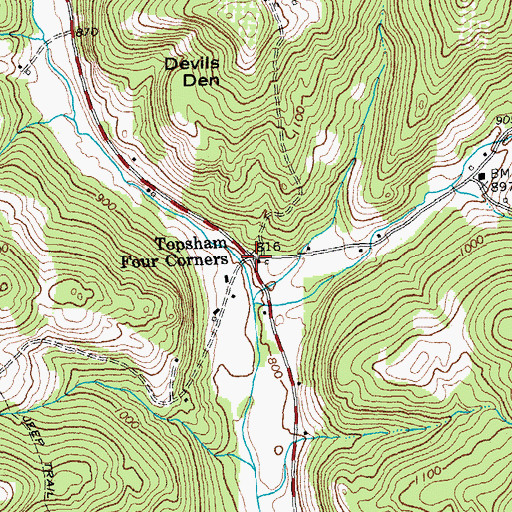 Topographic Map of Topsham Four Corners, VT
