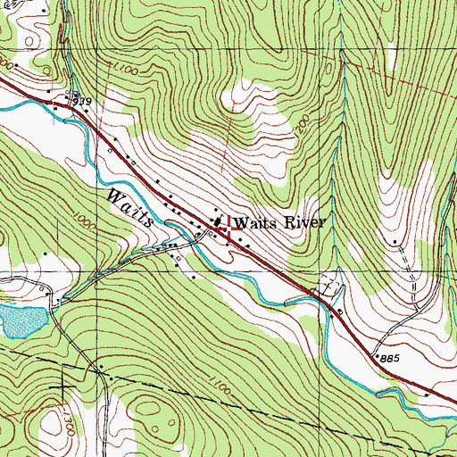 Topographic Map of Waits River, VT