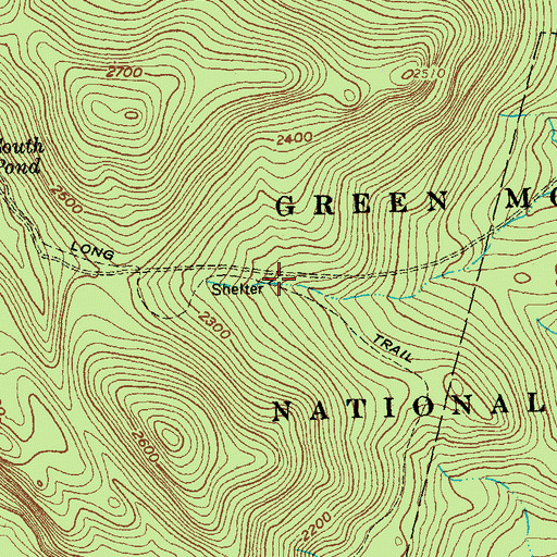 Topographic Map of Rolston Rest Shelter, VT