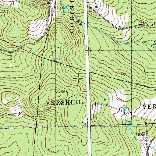 Topographic Map of Orange County, VT