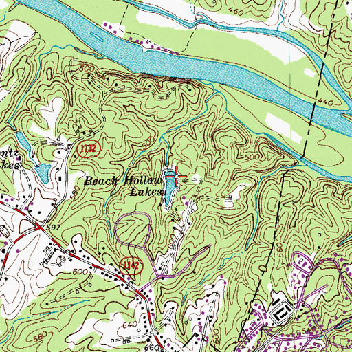 Topographic Map of Beach Hollow Lakes, VA