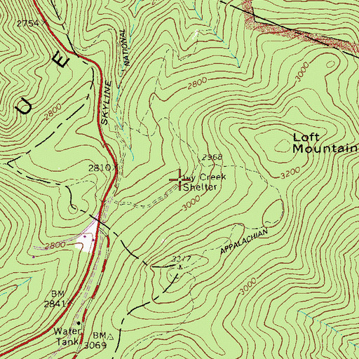 Topographic Map of Ivy Creek Shelter, VA