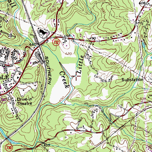 Topographic Map of Little Fall Creek, VA