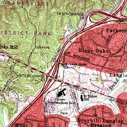 Topographic Map of McLean Bible Church, VA