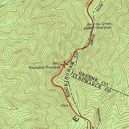 Topographic Map of Rockytop Overlook, VA