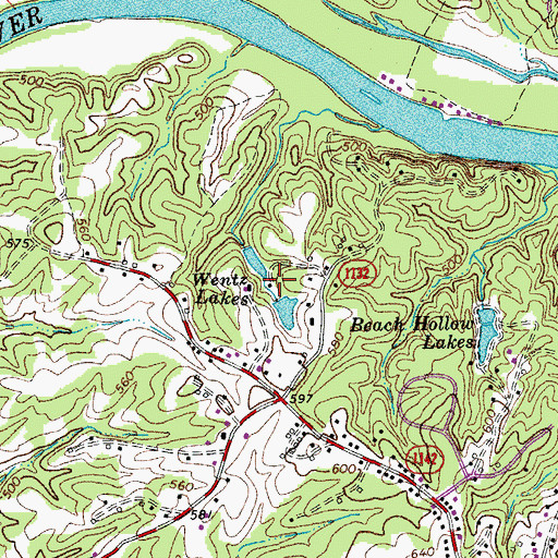 Topographic Map of Wentz Lakes, VA