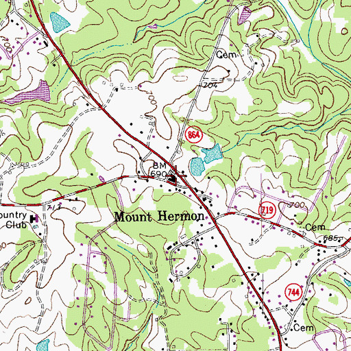 Topographic Map of Mount Hermon, VA