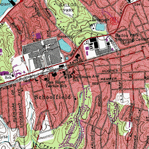 Topographic Map of Baltimore Avenue School, VA