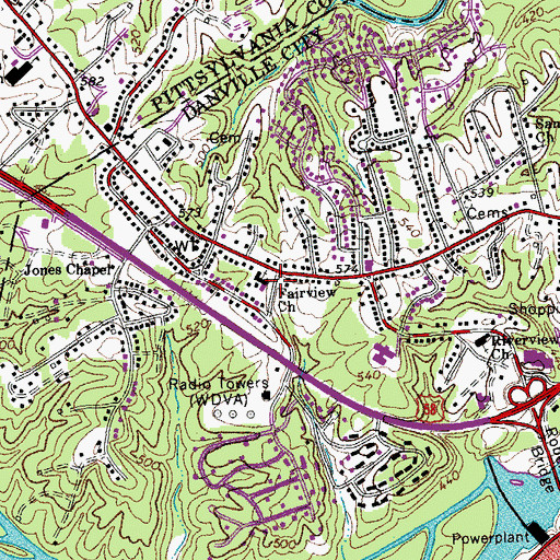 Topographic Map of Fairview Church, VA