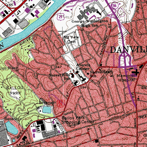 Topographic Map of Forest Hills Elementary School, VA