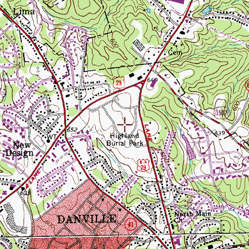 Topographic Map of Highland Burial Park, VA