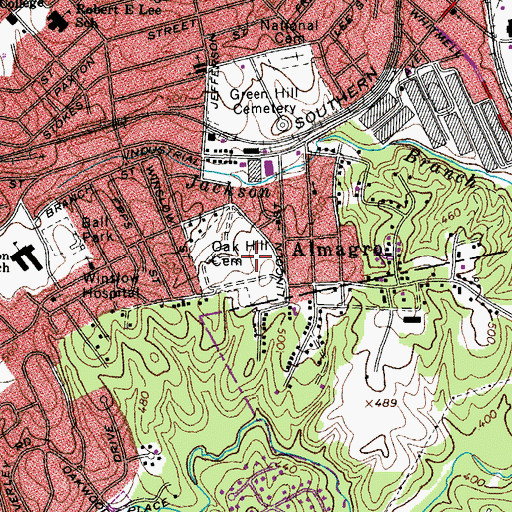 Topographic Map of Oak Hill Cemetery, VA