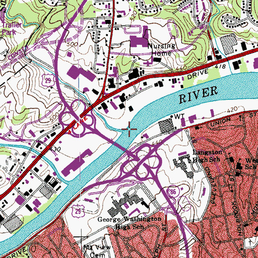 Topographic Map of Sandy Creek, VA