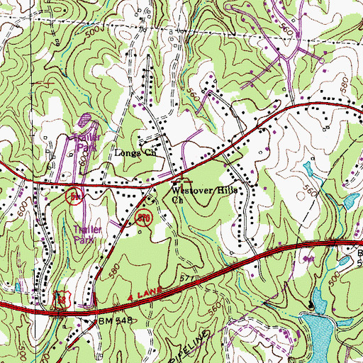 Topographic Map of Westover Hills Church, VA