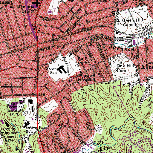 Topographic Map of Winslow Hospital, VA