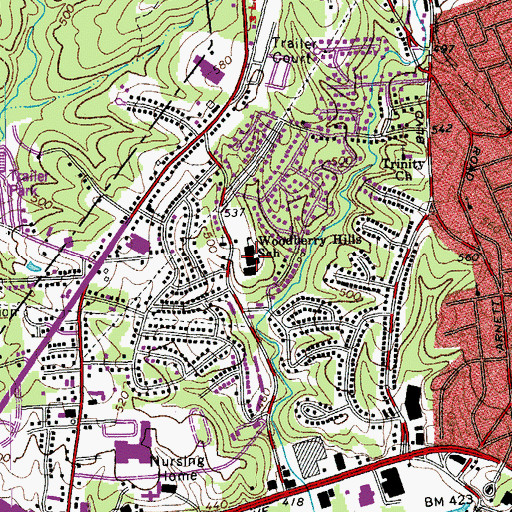Topographic Map of Woodberry Hills Elementary School, VA