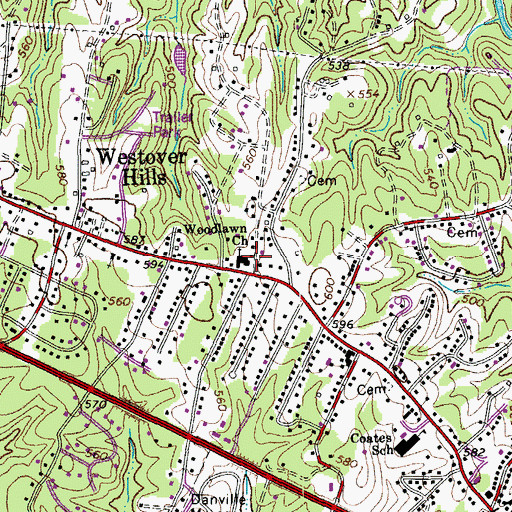 Topographic Map of Woodlawn Church, VA