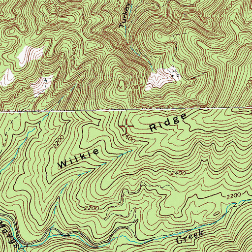 Topographic Map of Wilkie Ridge, VA