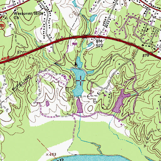 Topographic Map of Boatwright Pond, VA