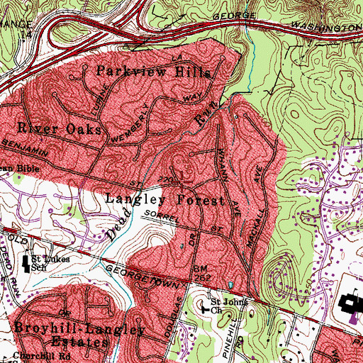 Topographic Map of Langley Forest, VA
