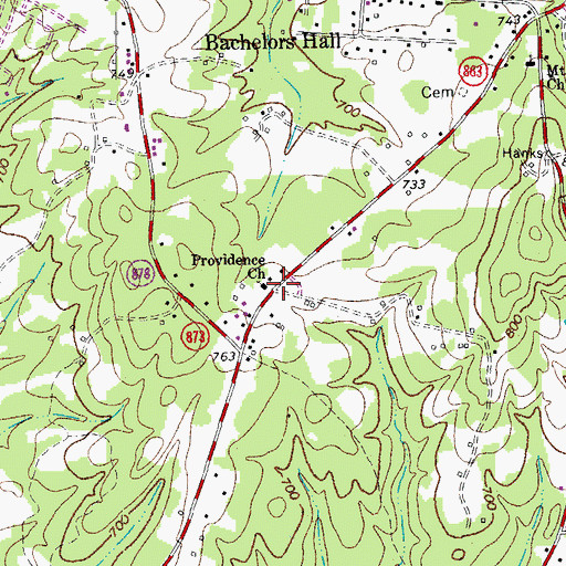 Topographic Map of Providence Church, VA