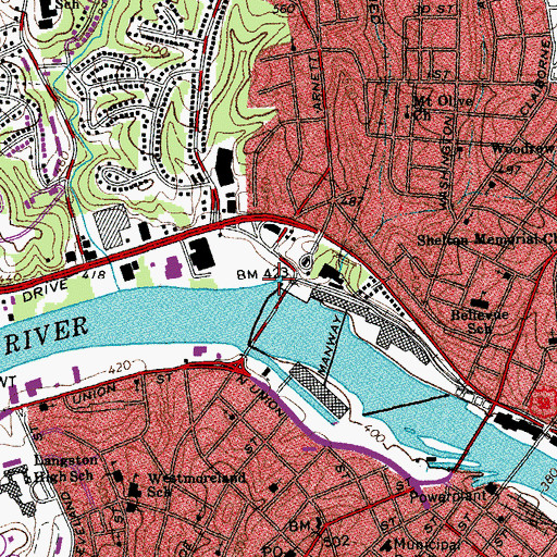 Topographic Map of Riverside Reservoir, VA