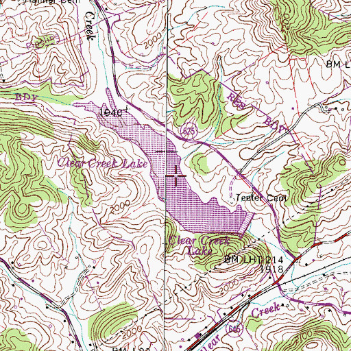 Topographic Map of Clear Creek Lake, VA