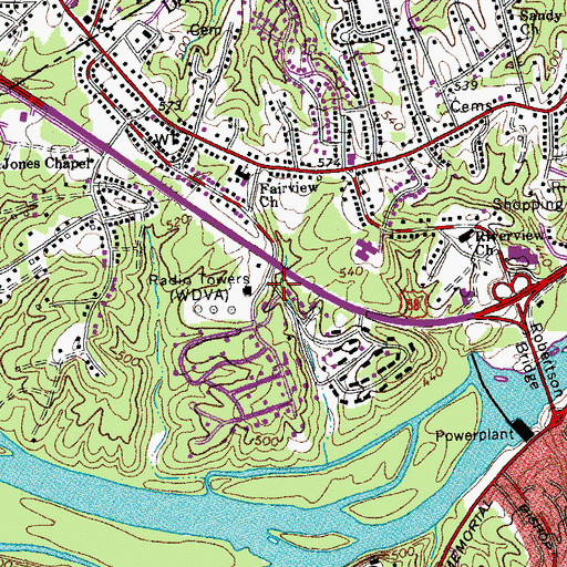 Topographic Map of WDVA-AM (Danville), VA