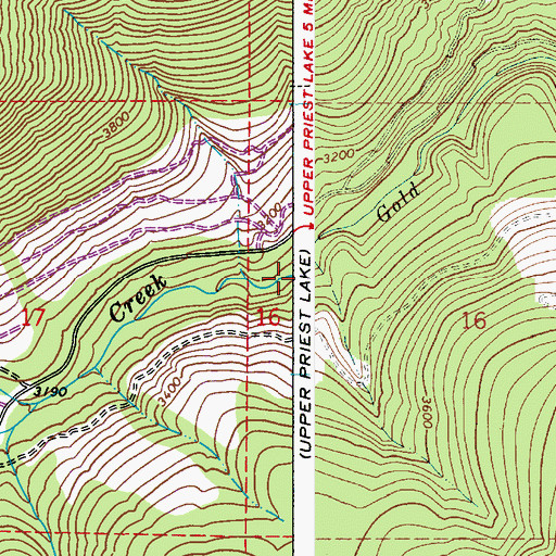 Topographic Map of Gold Creek, WA