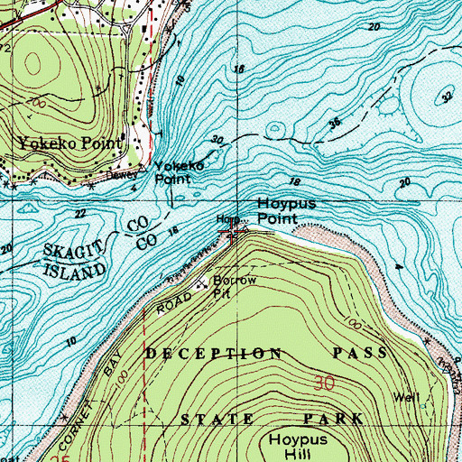 Topographic Map of Hoypus Point, WA