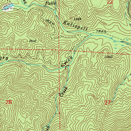 Topographic Map of Mush Creek, WA